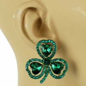 Green Shamrock Heart Pave Crystal Clover Earrings